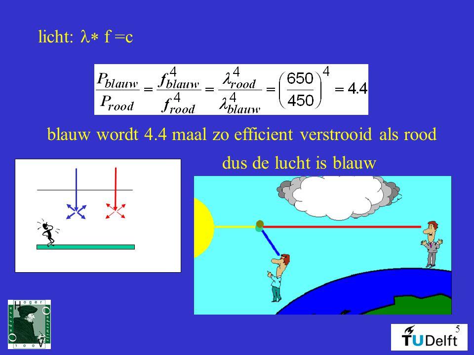 licht: l* f =c blauw wordt 4.4 maal zo efficient verstrooid als rood dus de lucht is blauw