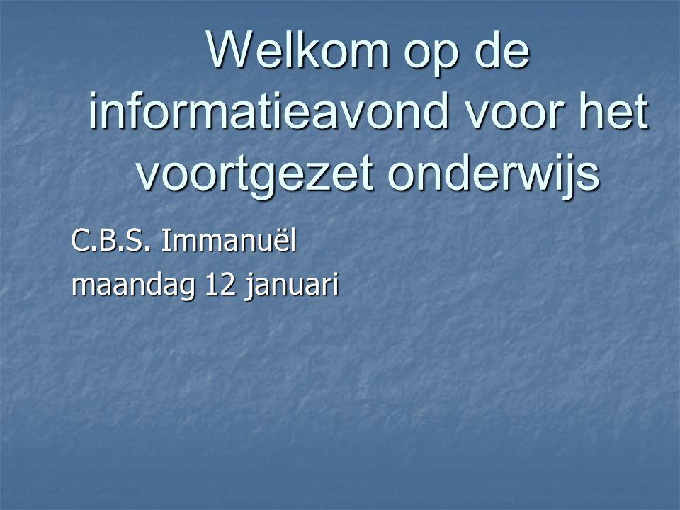 Welkom op de informatieavond voor het voortgezet onderwijs