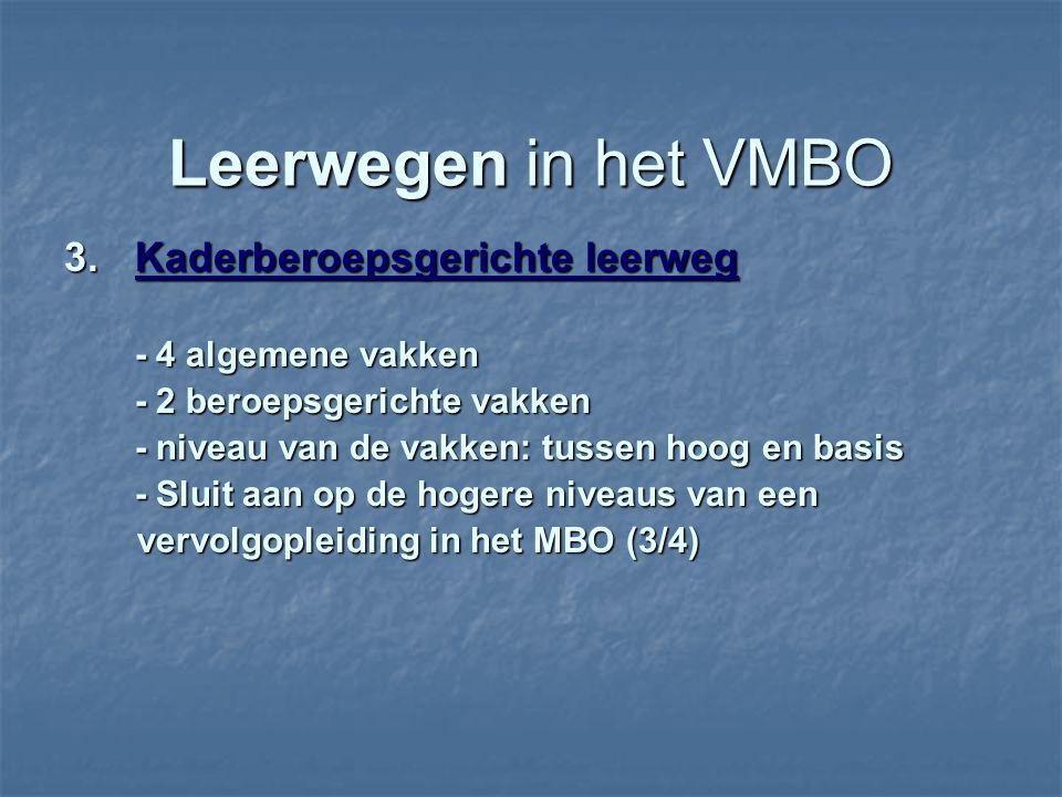 Leerwegen in het VMBO 3. Kaderberoepsgerichte leerweg