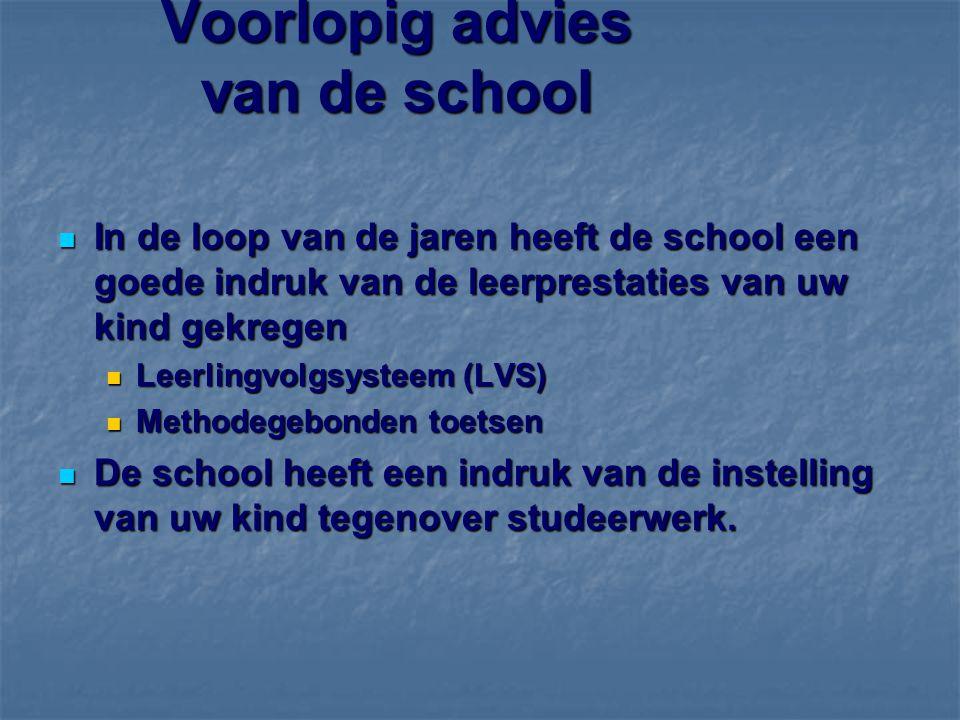 Voorlopig advies van de school