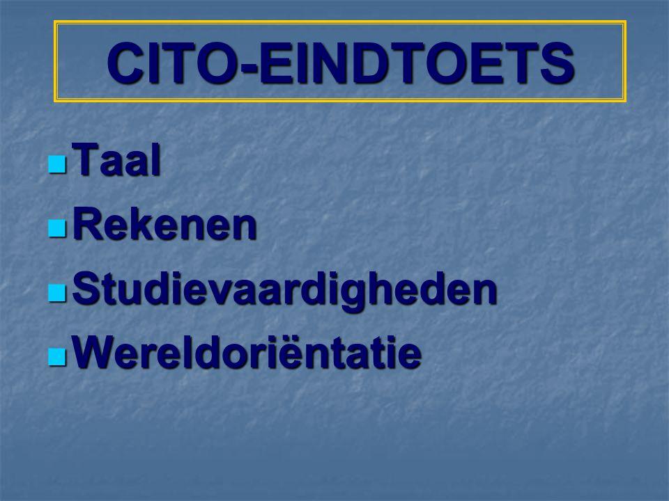 CITO-EINDTOETS Taal Rekenen Studievaardigheden Wereldoriëntatie