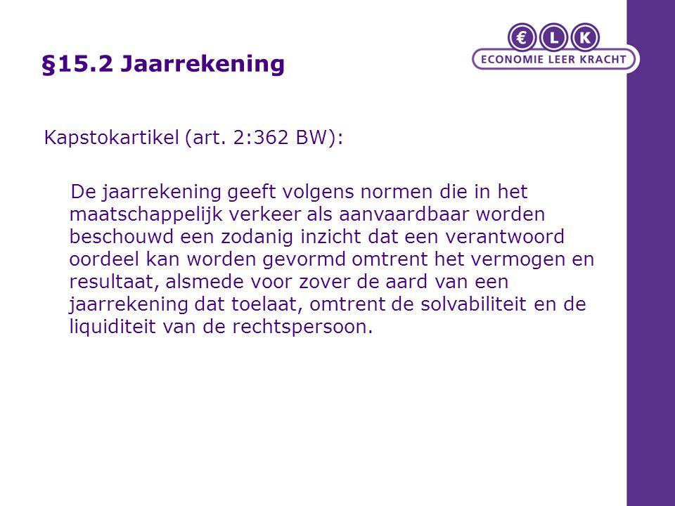§15.2 Jaarrekening Kapstokartikel (art. 2:362 BW):