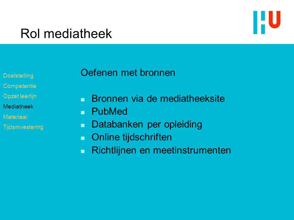 Rol mediatheek Oefenen met bronnen Bronnen via de mediatheeksite