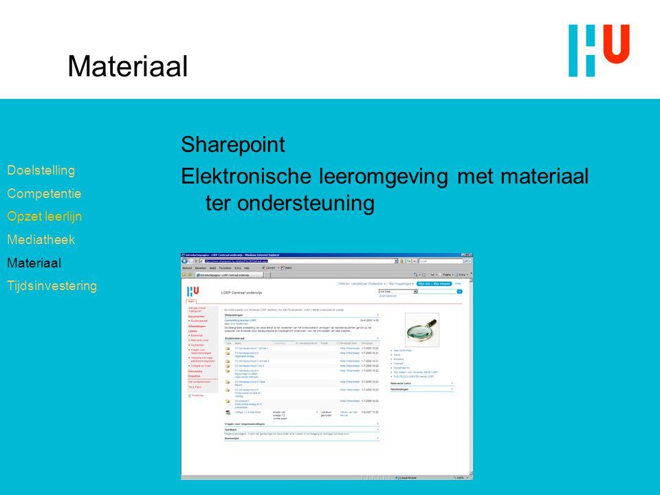 Materiaal Sharepoint. Elektronische leeromgeving met materiaal ter ondersteuning. Doelstelling. Competentie.