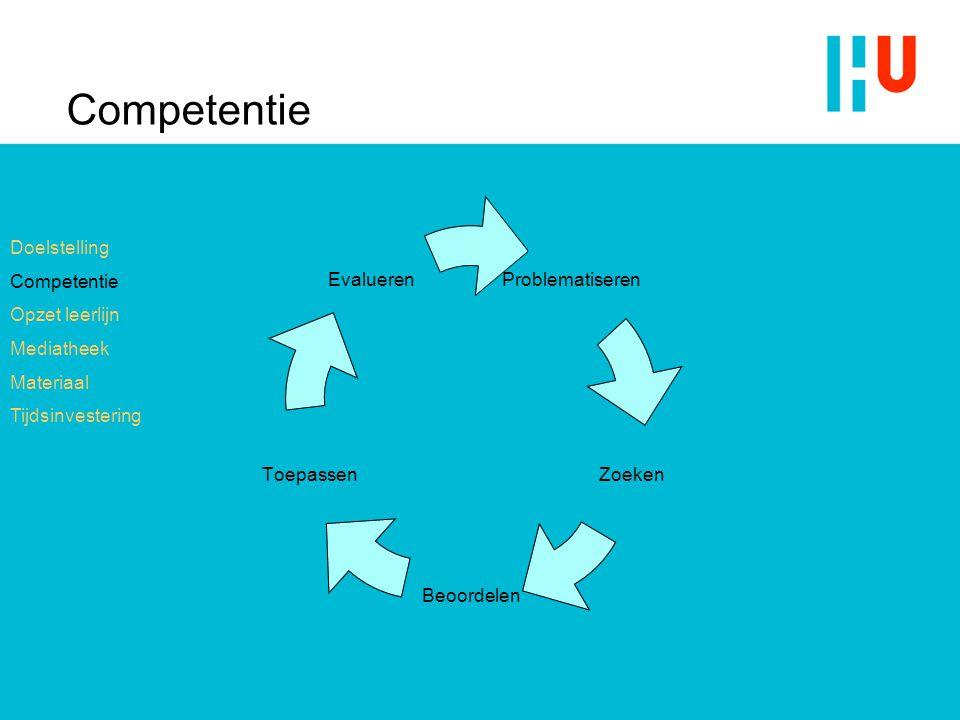 Competentie Doelstelling Competentie Opzet leerlijn Mediatheek