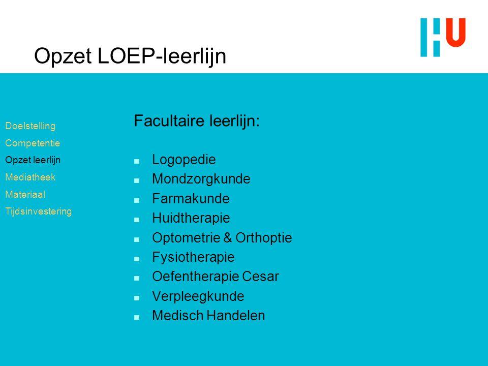 Opzet LOEP-leerlijn Facultaire leerlijn: Logopedie Mondzorgkunde