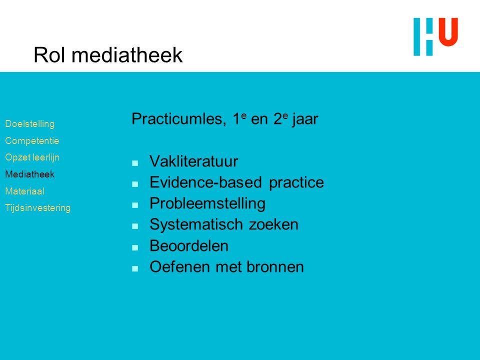 Rol mediatheek Practicumles, 1e en 2e jaar Vakliteratuur