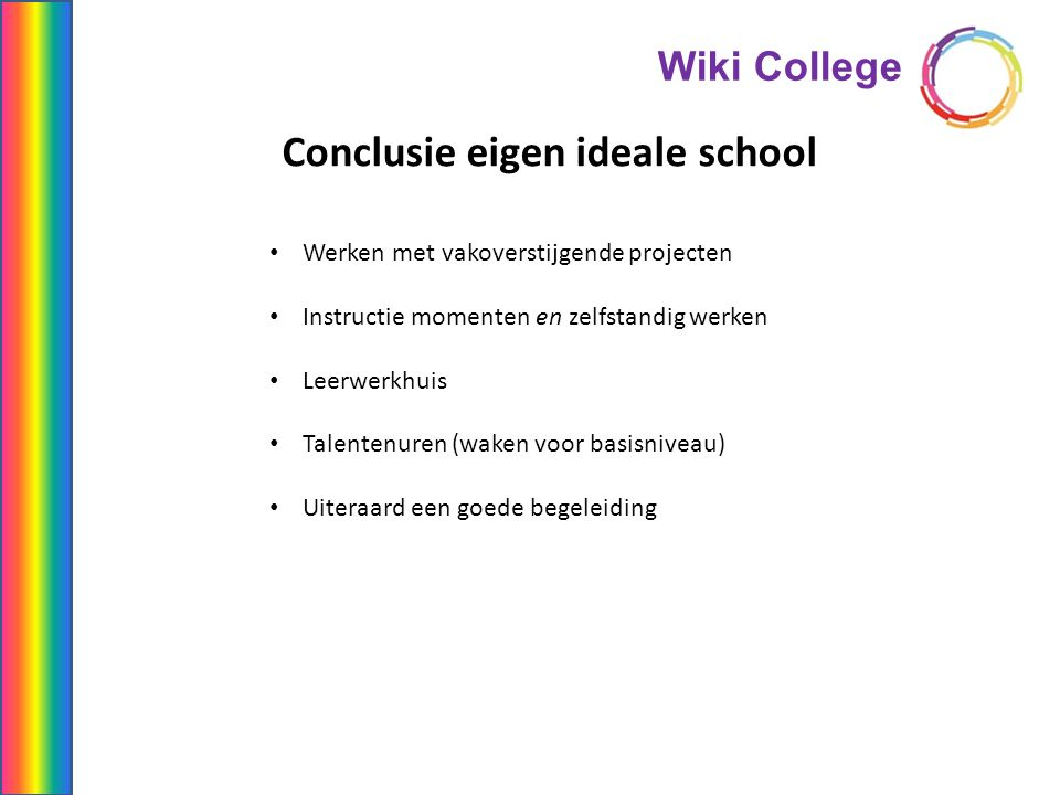 Conclusie eigen ideale school