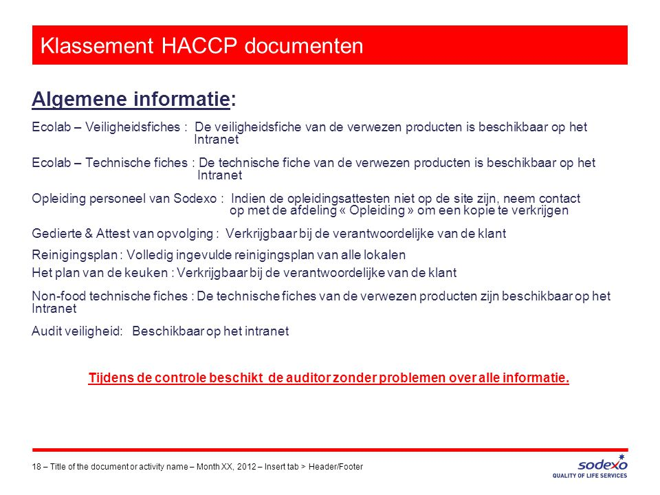 Klassement HACCP documenten