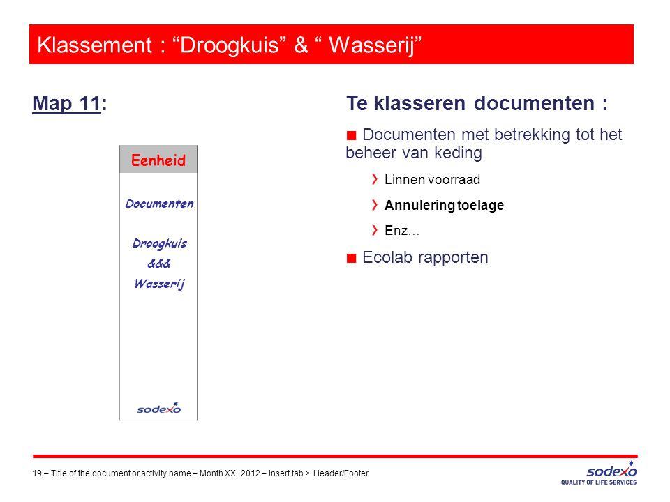 Klassement : Droogkuis & Wasserij
