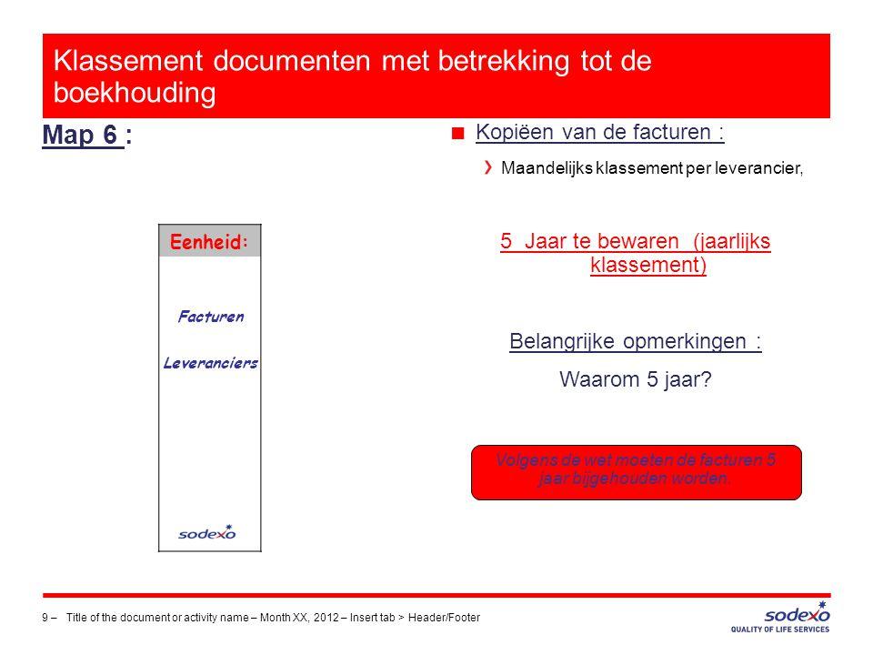 Klassement documenten met betrekking tot de boekhouding