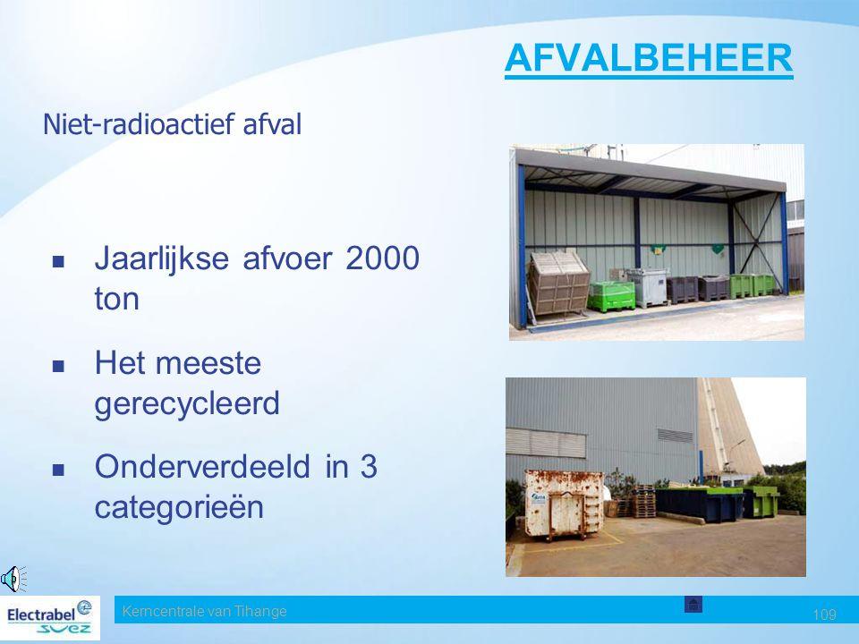 AFVALBEHEER Jaarlijkse afvoer 2000 ton Het meeste gerecycleerd