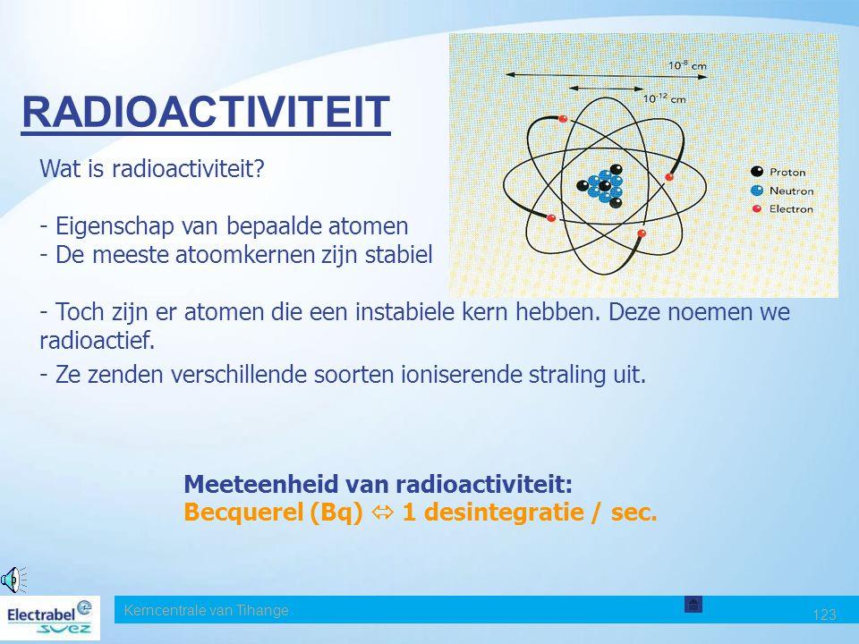 RADIOACTIVITEIT Wat is radioactiviteit Eigenschap van bepaalde atomen