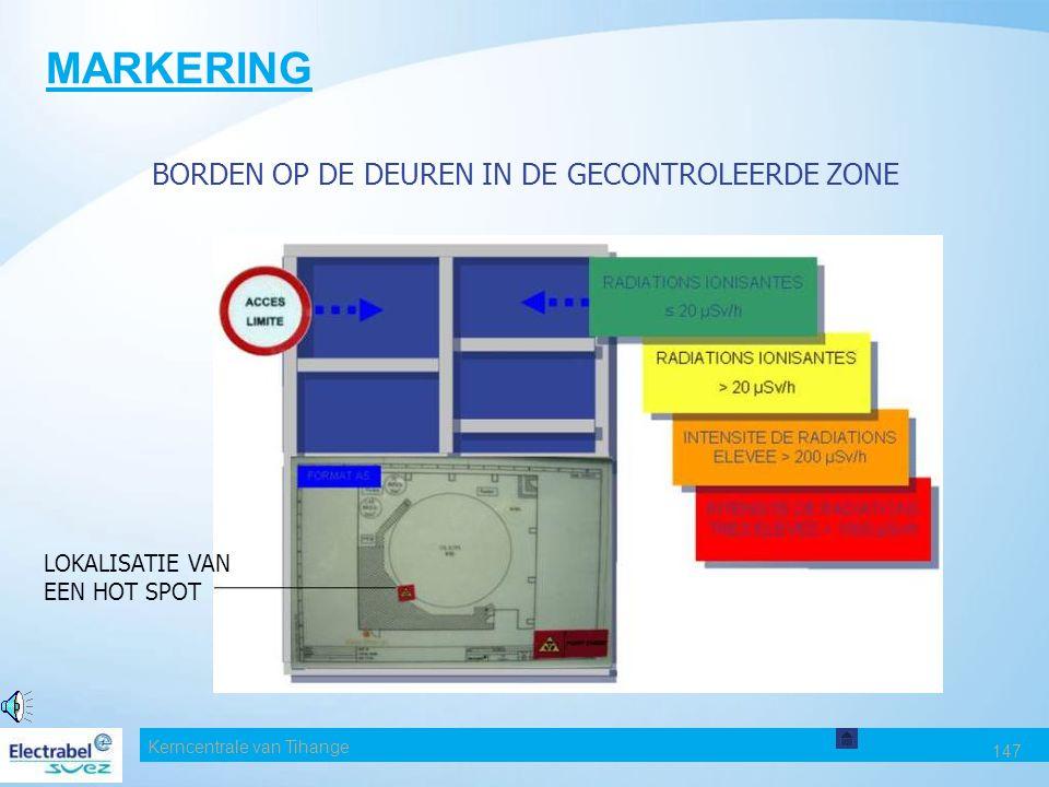 MARKERING BORDEN OP DE DEUREN IN DE GECONTROLEERDE ZONE