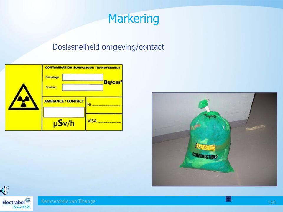 Markering Dosissnelheid omgeving/contact Date Kerncentrale van Tihange