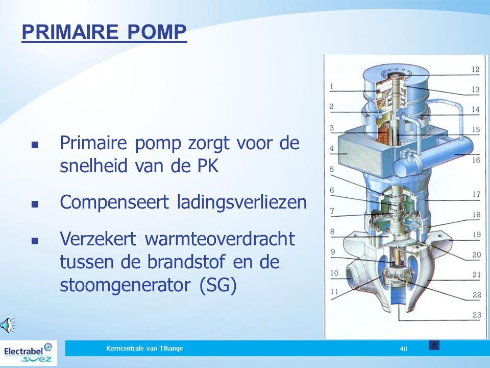 PRIMAIRE POMP Primaire pomp zorgt voor de snelheid van de PK