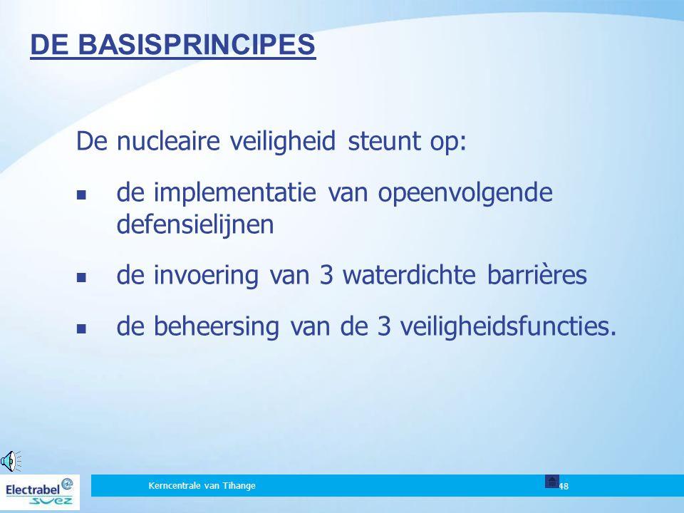 DE BASISPRINCIPES De nucleaire veiligheid steunt op: