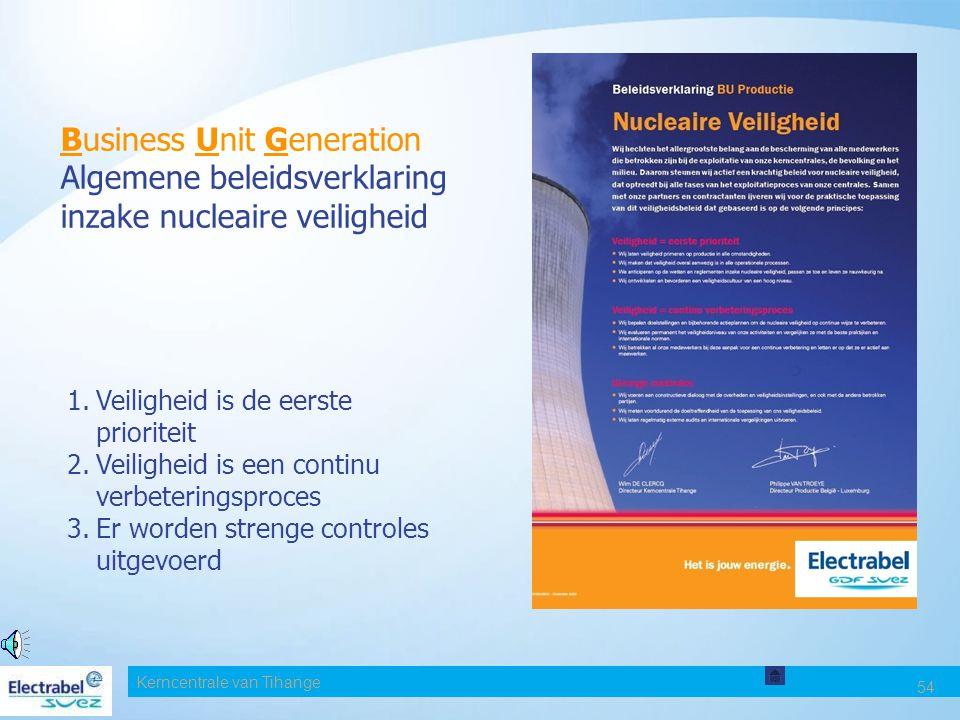 Date Business Unit Generation Algemene beleidsverklaring inzake nucleaire veiligheid. Veiligheid is de eerste prioriteit.