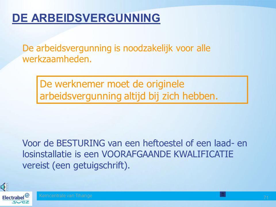 Date DE ARBEIDSVERGUNNING. De arbeidsvergunning is noodzakelijk voor alle werkzaamheden.