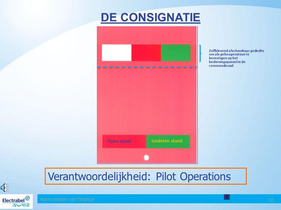 DE CONSIGNATIE Verantwoordelijkheid: Pilot Operations Date