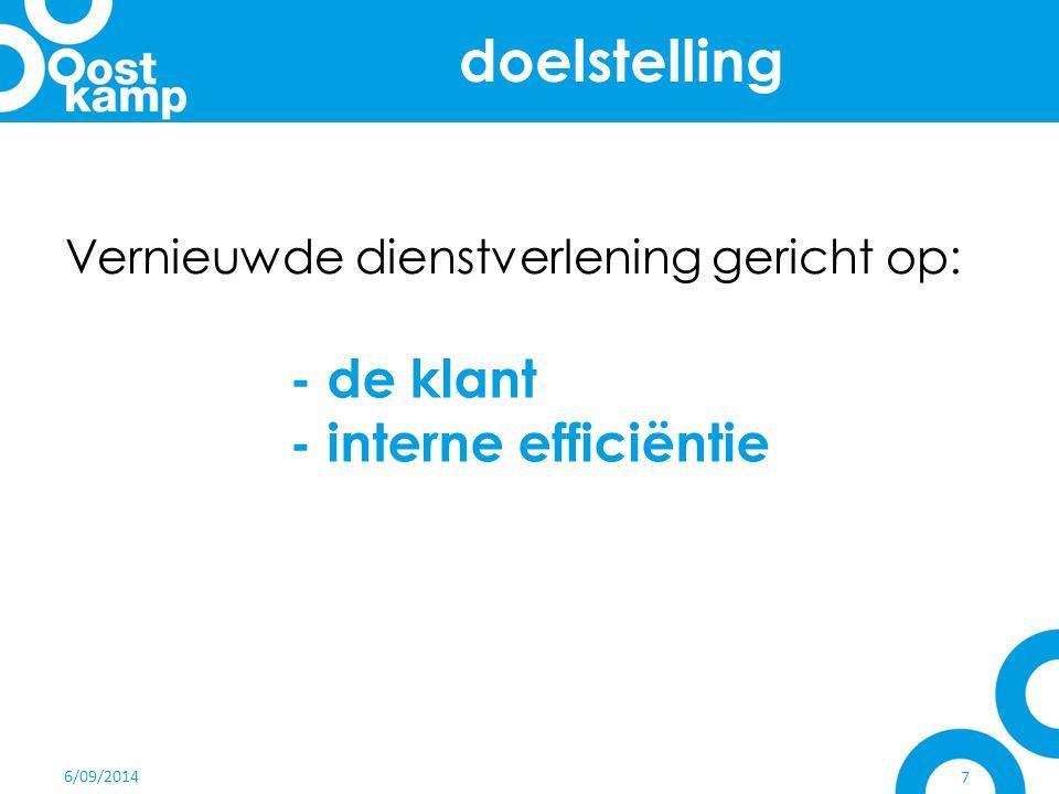 doelstelling - de klant - interne efficiëntie