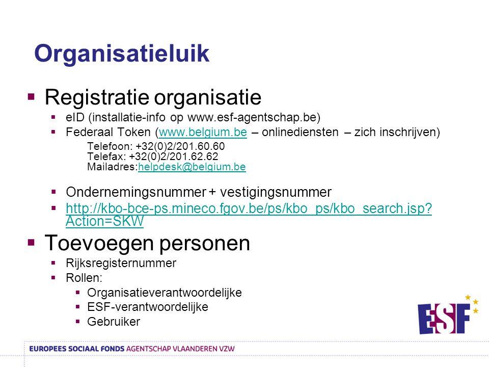 Organisatieluik Registratie organisatie Toevoegen personen