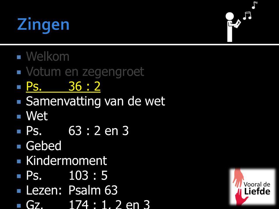 Zingen Welkom Votum en zegengroet Ps. 36 : 2 Samenvatting van de wet