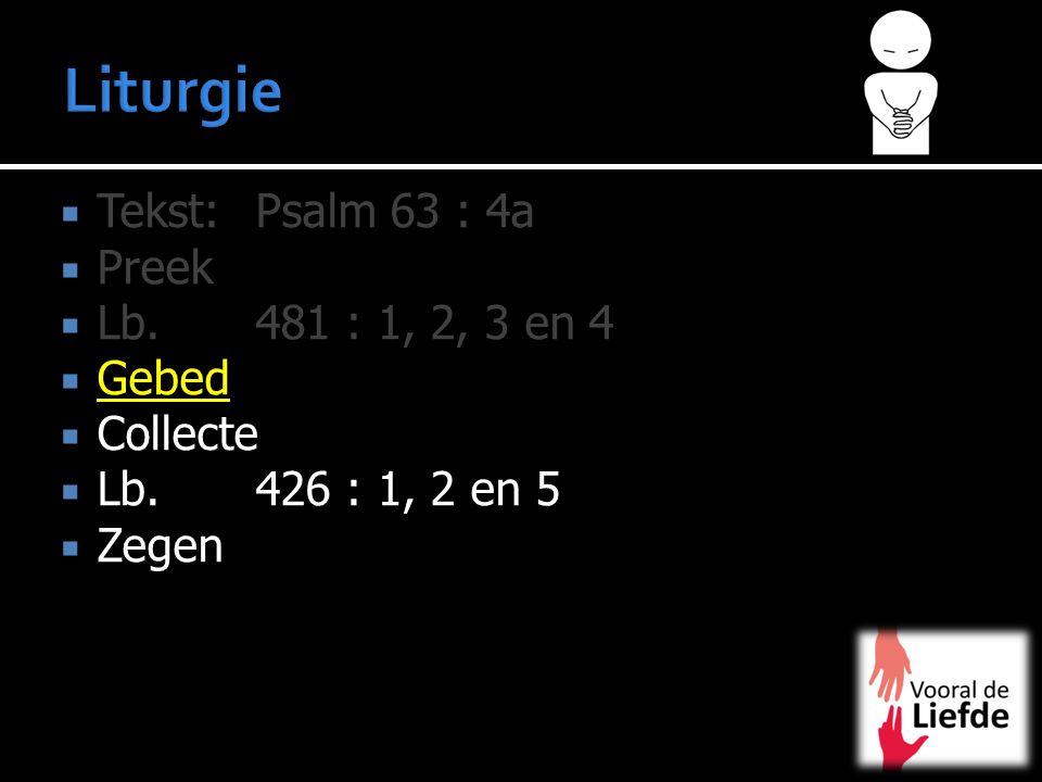 Liturgie Tekst: Psalm 63 : 4a Preek Lb. 481 : 1, 2, 3 en 4 Gebed