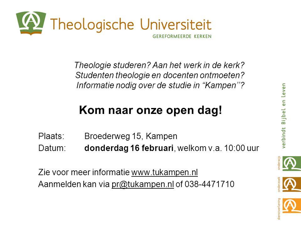 Theologie studeren. Aan het werk in de kerk