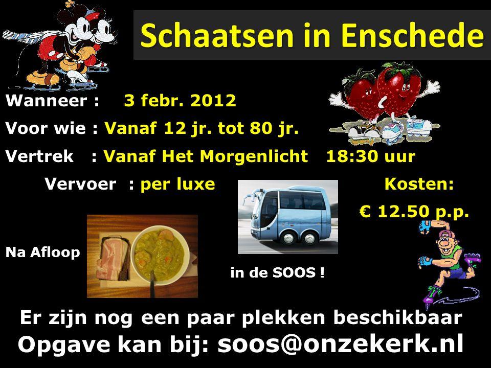 Schaatsen in Enschede Wanneer : Voor wie : Vanaf 12 jr. tot 80 jr. Vertrek : Vanaf Het Morgenlicht 18:30 uur.
