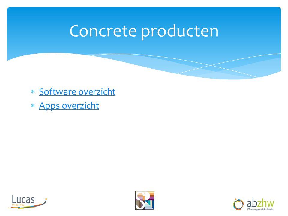 Concrete producten Software overzicht Apps overzicht