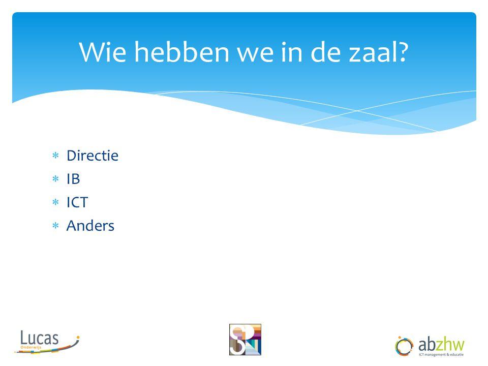 Wie hebben we in de zaal Directie IB ICT Anders