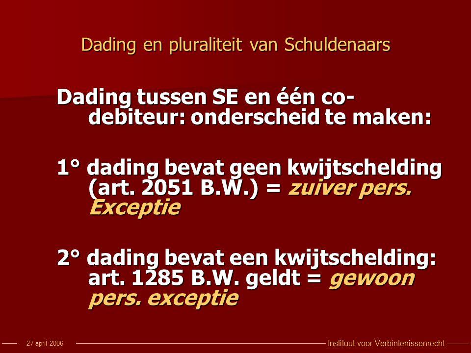 Dading en pluraliteit van Schuldenaars