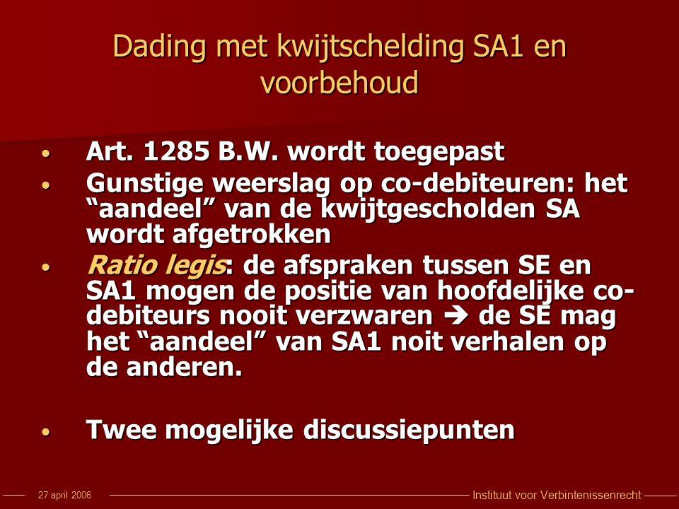 Dading met kwijtschelding SA1 en voorbehoud