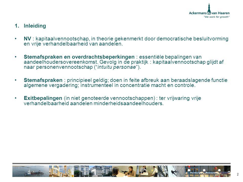 Inleiding NV : kapitaalvennootschap, in theorie gekenmerkt door democratische besluitvorming en vrije verhandelbaarheid van aandelen.