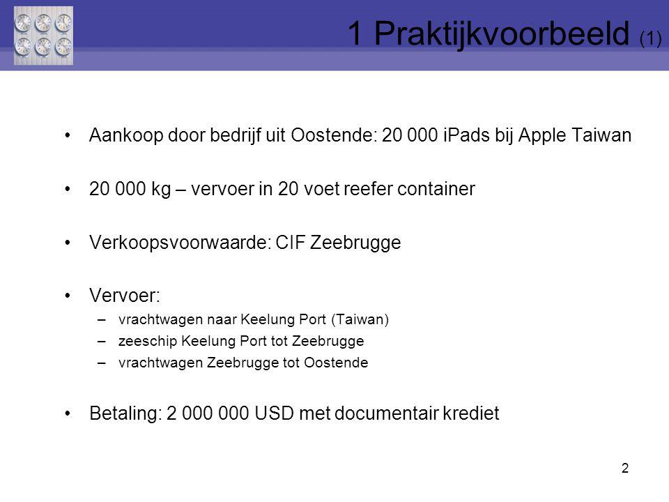 1 Praktijkvoorbeeld (1) Aankoop door bedrijf uit Oostende: 20 000 iPads bij Apple Taiwan. 20 000 kg – vervoer in 20 voet reefer container.