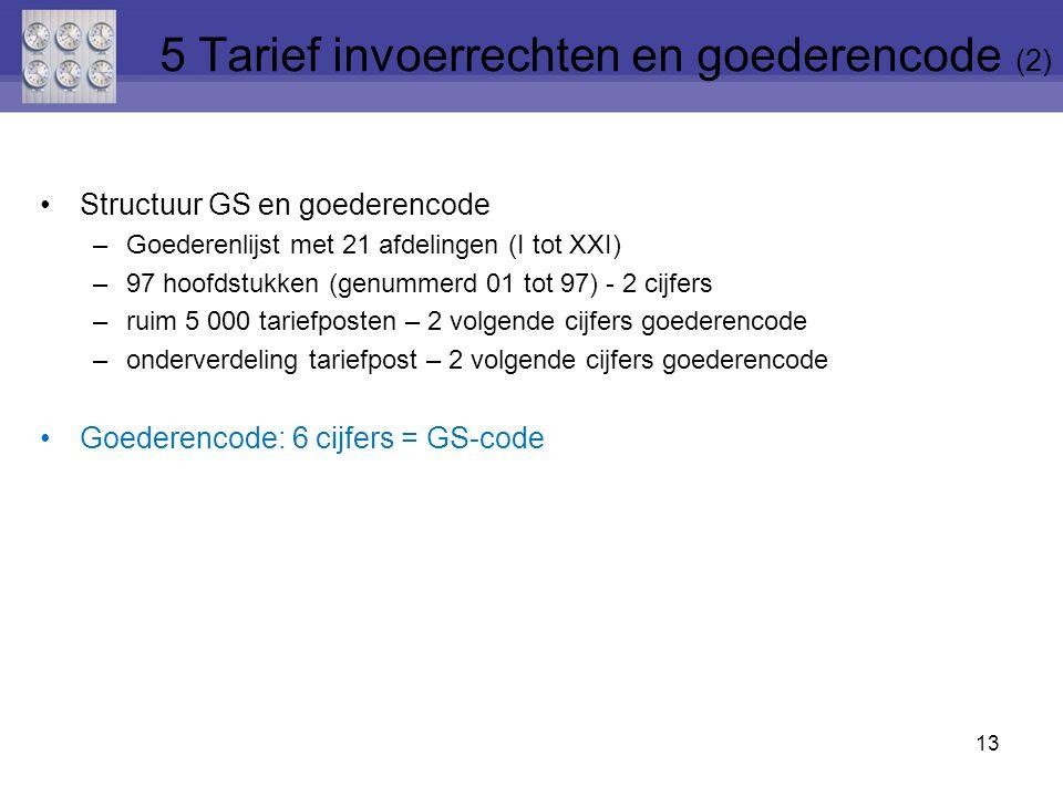 5 Tarief invoerrechten en goederencode (2)
