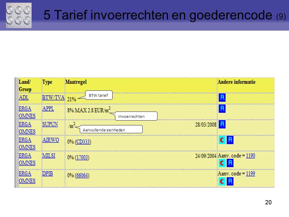 5 Tarief invoerrechten en goederencode (9)