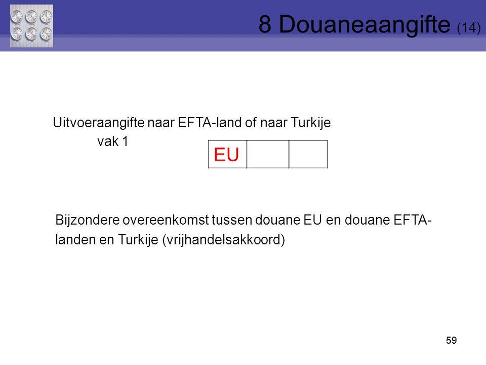 8 Douaneaangifte (14) Uitvoeraangifte naar EFTA-land of naar Turkije. vak 1.