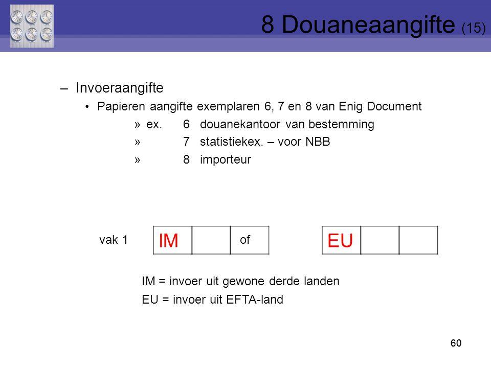 8 Douaneaangifte (15) vak 1 of IM EU Invoeraangifte