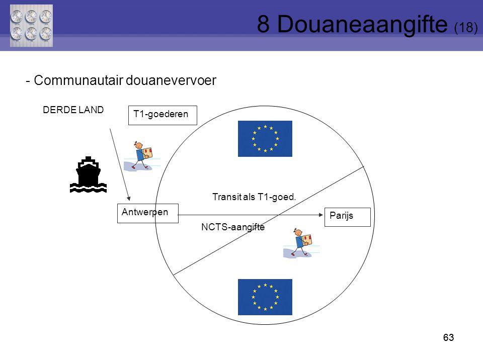 8 Douaneaangifte (18) - Communautair douanevervoer DERDE LAND