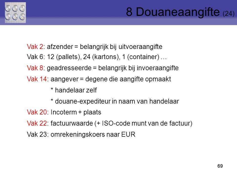8 Douaneaangifte (24) Vak 2: afzender = belangrijk bij uitvoeraangifte