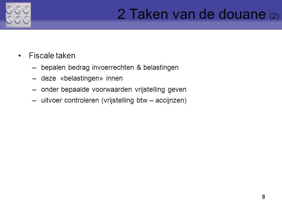 2 Taken van de douane (2) Fiscale taken
