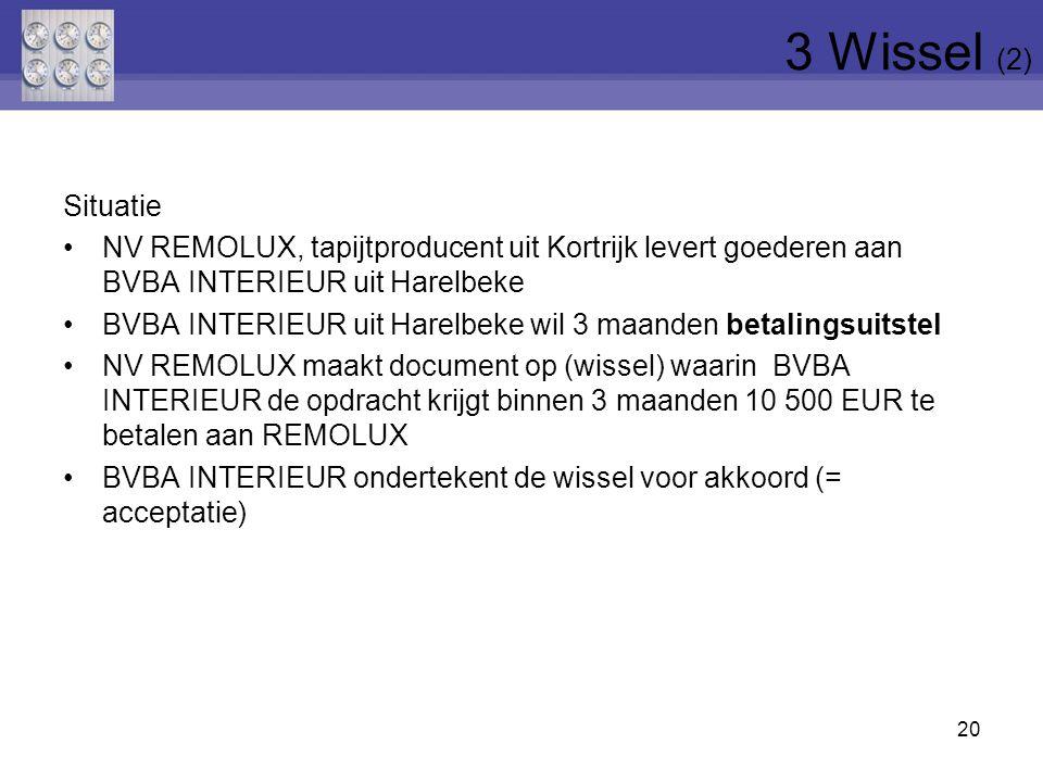 3 Wissel (2) Situatie. NV REMOLUX, tapijtproducent uit Kortrijk levert goederen aan BVBA INTERIEUR uit Harelbeke.