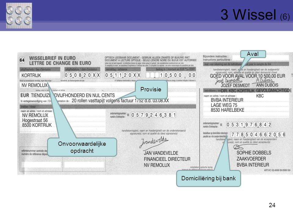 3 Wissel (6) Aval Provisie Onvoorwaardelijke opdracht