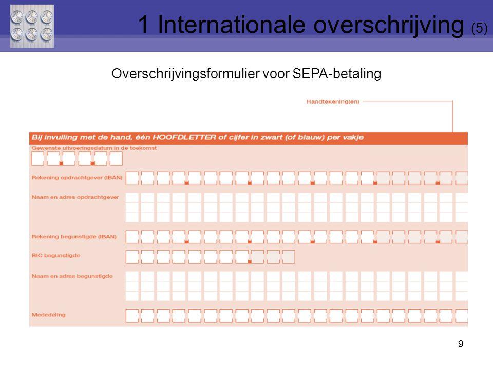 Overschrijvingsformulier voor SEPA-betaling