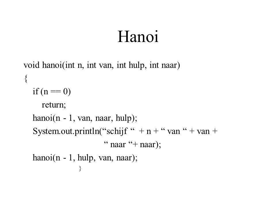 Hanoi void hanoi(int n, int van, int hulp, int naar) { if (n == 0)