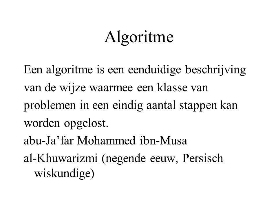 Algoritme Een algoritme is een eenduidige beschrijving