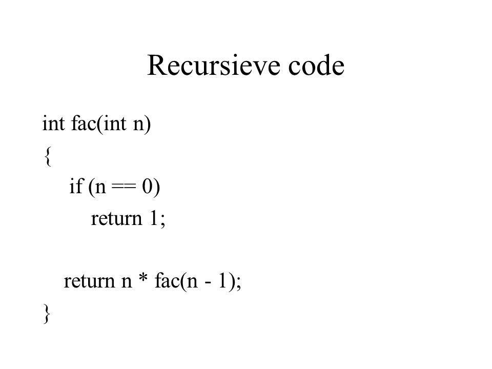 Recursieve code int fac(int n) { if (n == 0) return 1;