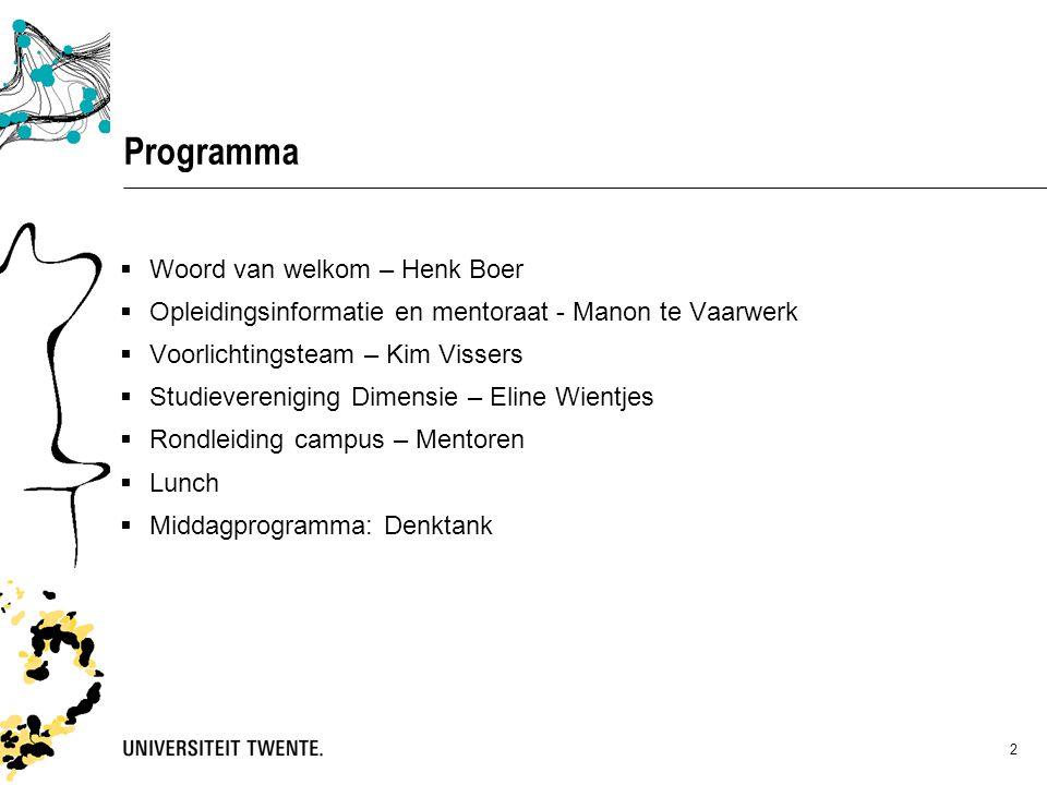 Programma Woord van welkom – Henk Boer